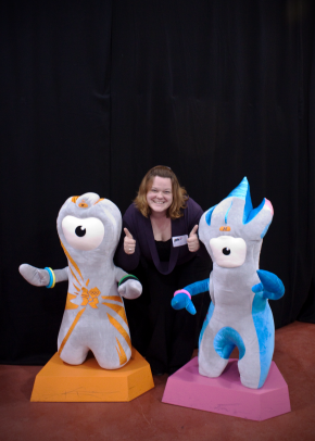 Meeting the mascots, Mandeville and Wenlock.